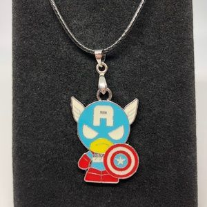 Other - Metal Cpt America Pendant Leather Cord Necklace
